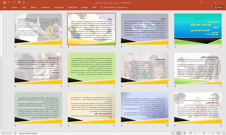 پروژه علل اختلافات خانوادگي و بررسی راهكارها و مسائل